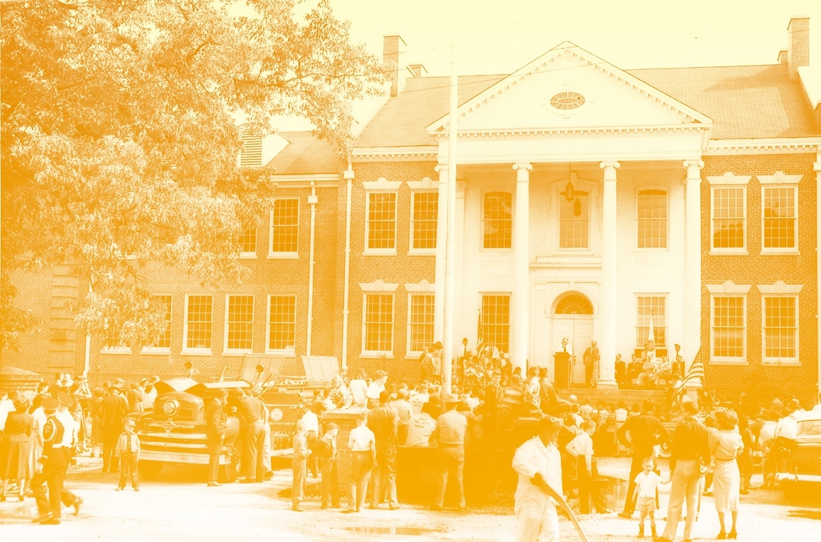 Colorized photo of Cary's Town Hall.