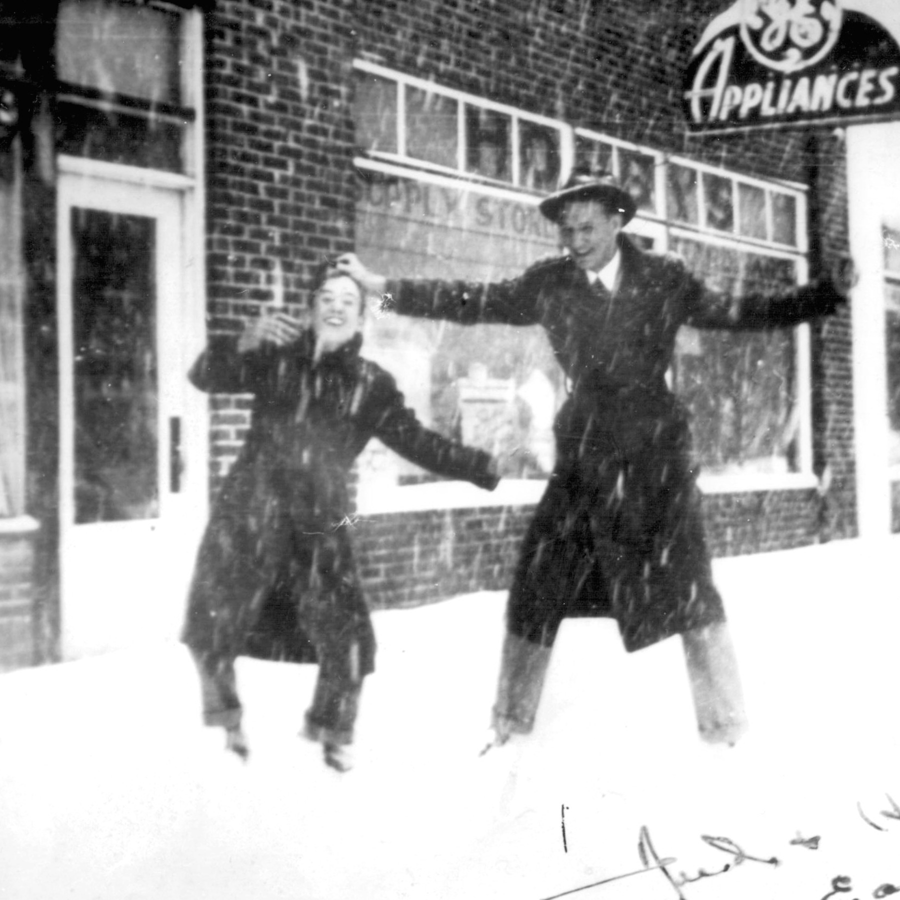 Snowball fight in Cary, NC circa 1940.